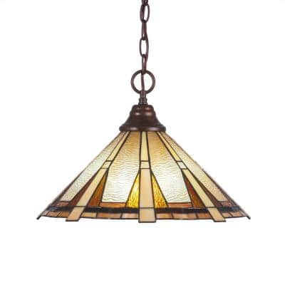 1-Light Bronze Pendant with 16 in. Zion Tiff Glass