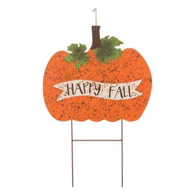 29.88 in. H Metal Rusty Pumpkin Yard Stake or Standing Decor or Hanging Decor (KD, 3 Function)