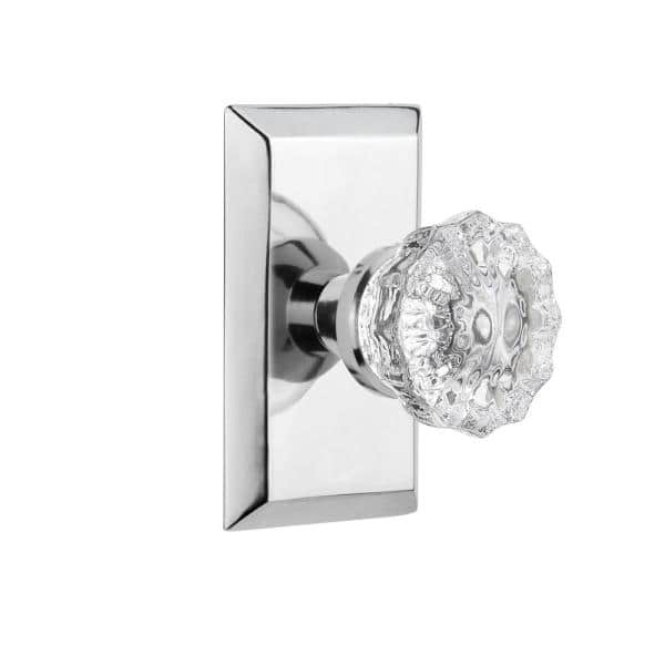 Nostalgic Warehouse Studio Plate 2 3 8 In Backset Bright Chrome Privacy Bed Bath Crystal Glass Door Knob 713306 The Home Depot