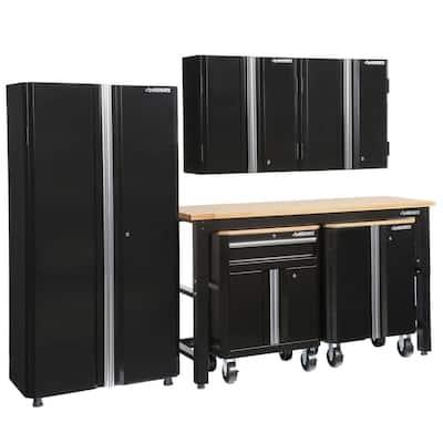 6-Piece Ready-to-Assemble Steel Garage Storage System in Black (108 in. W x 98 in. H x 24 in. D )