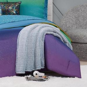 Bottom Dye Blue Sherpa Throw Blanket