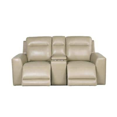 Doncello Sand 39 in. Power Reclining Console Loveseat