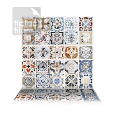 Moroccan Caro 10 in. W x 10 in. H Multi-Color Peel and Stick Decorative Mosaic Wall Tile Backsplash (6-Tiles)