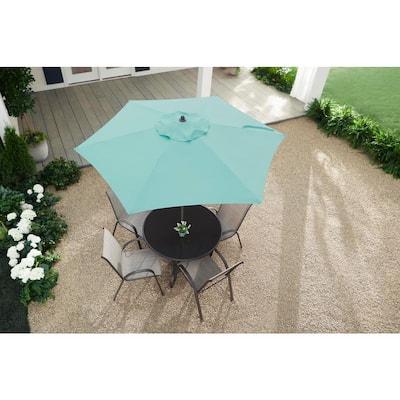 7.5 ft. Steel Market Outdoor Patio Umbrella in Haze Teal Blue