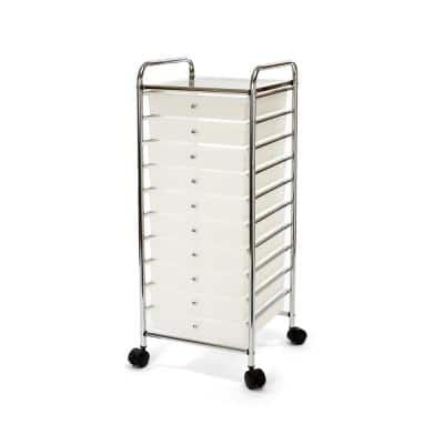 10-Drawer Large Organizer Cart in Frosted White