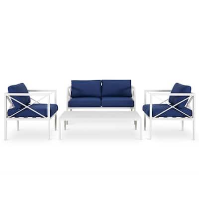 White 4-Piece Aluminum Outdoor Patio Conversation Sofa Seating Set with Dark Blue Cushions