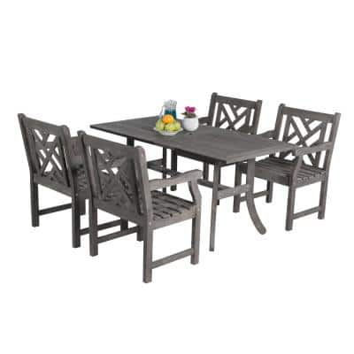 Renaissance Acacia 5-Piece Patio Dining Set with 32 in. W Table and Herringbone-Back Armchairs