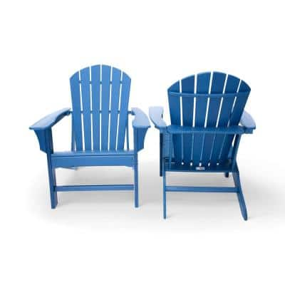 Hampton Navy Poly Outdoor Patio Plastic Adirondack Chair (2-Pack)