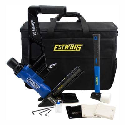 Pneumatic 18-Gauge L-Cleat Flooring Nailer with Fiberglass Mallet and Padded Bag