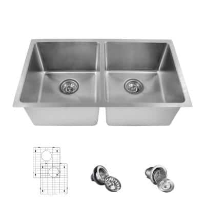 Undermount Stainless Steel 31 in. 50/50 Double Bowl Kitchen Sink Kit