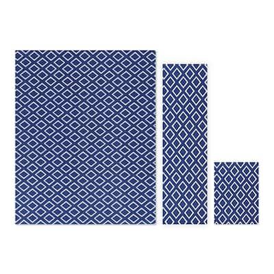 Gem Stone Blue/White 5 ft. x 7 ft. 3-Piece Rug Set