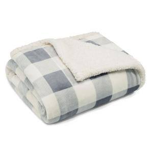 Ultra Plush Mountain Plaid Silver Sherpa Reverse Throw Blanket