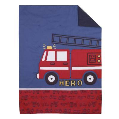 Firetruck Red, White, & Blue 4 Piece Toddler Bedding Set