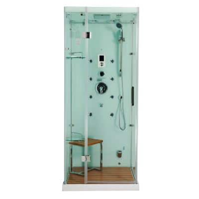 Jupiter 35 in. x 35 in. x 86 in. Steam Shower Enclosure Kit in White with Left Hand Side Unit
