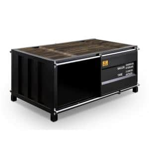 Wedgewood 48 in. Black Large Rectangle Wood Coffee Table with Storage