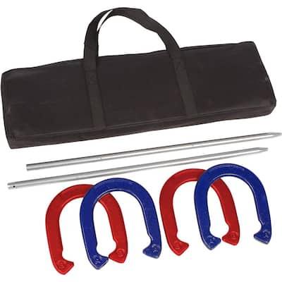 Pro Horseshoe Set - Powder Coated Steel - (Red and Blue)