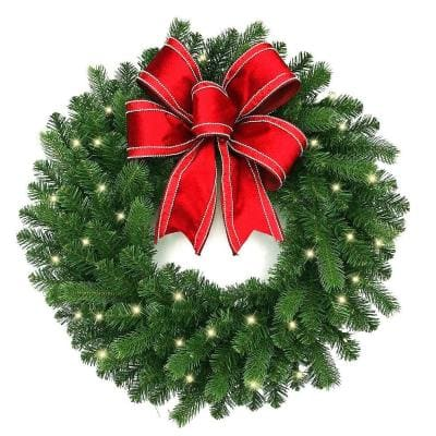 30 in. Blanton Pre-Lit LED Artificial Douglas Wreath with Ribbon, 35 Warm White Lights