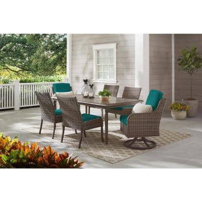 Windsor Brown Wicker Outdoor Patio Swivel Dining Chair with Sunbrella Peacock Blue-Green Cushions (2-Pack)