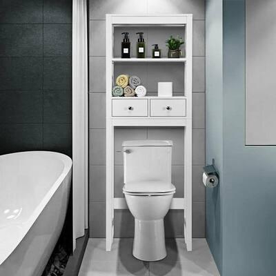 23.5 in. W Toilet Space Saver Bathroom Organizer Storage Shelf with Drawers in White