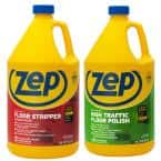 128 oz. High-Traffic Floor Polish with Heavy-Duty Floor Stripper 128 oz. (2-Pack Combo)