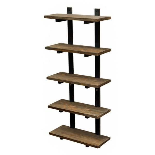 Alaterre Furniture Pomona 20 In W Wall Mounted 5 Tier Bath Shelf With Metal Frame And Solid Wood Amba5820 The Home Depot