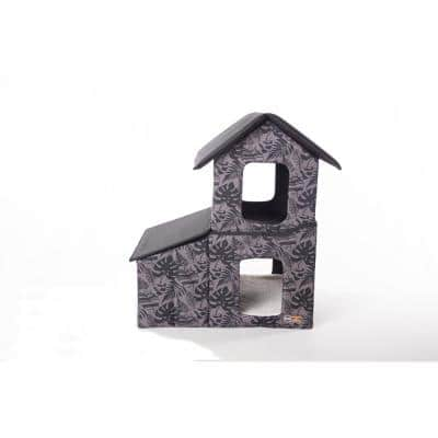 Outdoor 2-Story Kitty House with Dining Room Gray Leaf Print Medium