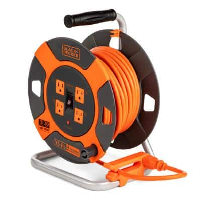 75 ft. 4 Outlets Retractable Extension Cord with 14 AWG SJTW Cable Outdoor Power Cord Reel