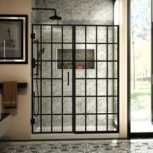 Unidoor Toulon 58-58 1/2 in. W x 72 in. H Frameless Hinged Shower Door in Satin Black