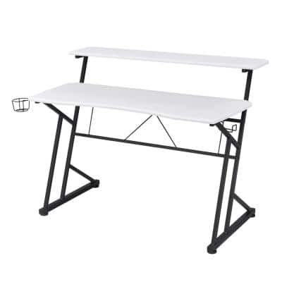 White Computer Gaming Desk with Shelves