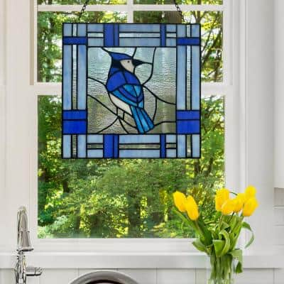 Blue Jay Stained Glass Window Panel
