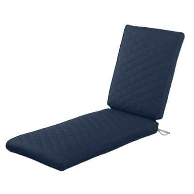 Montlake FadeSafe 72 in. L x 21 in. W x 3 in. Thick Navy Outdoor Quilted Chaise Lounge Cushion