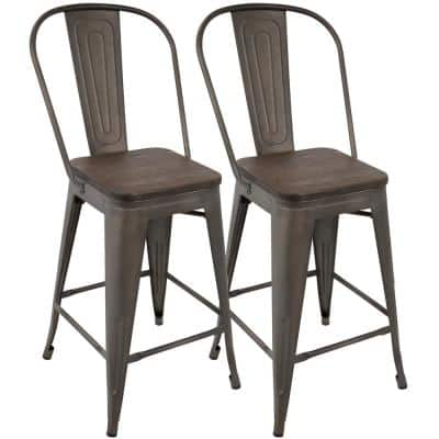 Oregon 39.5 in. Antique and Espresso High Back Counter Stool (Set of 2)