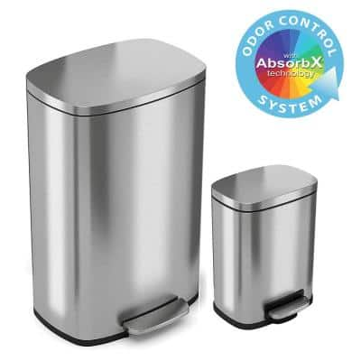 13 Gal. and 1.32 Gallon SoftStep Stainless Steel Step Trash Can Combo Set for Kitchen and Bathroom, Removable Bucket