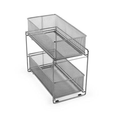 MeshWorks Silver Metal Cabinet Basket Organizer