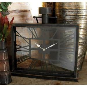 20 in. x 18 in. Black Iron and Clear Glass Horizontal Rectangular Table Clock