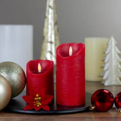 6 in. Red Flameless Battery Operated Christmas Decor Candle