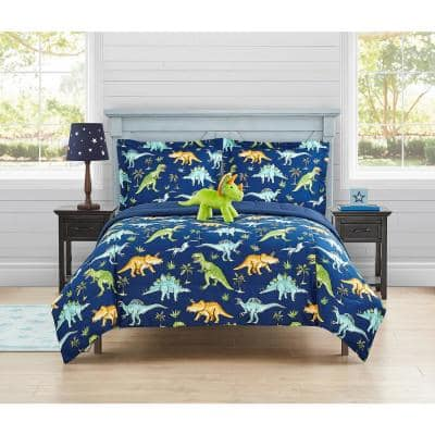 Watercolor Dinosaur Navy 4-Pieces Brushed Microfiber Comforter Set-Full