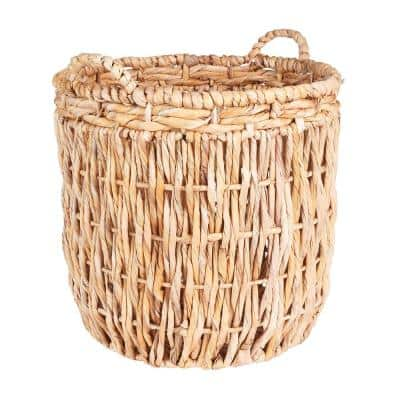 17.7 in x 19.7 in Corn Leaf, Rope, and Banana Leaf Tall Basket with Handles