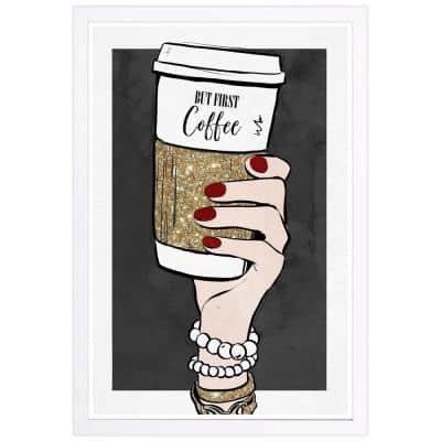 """""""But First Coffee and Accessories"""" Framed Fashion and Glam Art Print 19 in. x 13 in."""