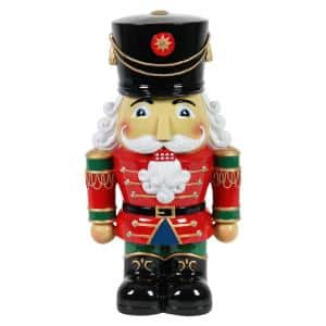 19 in. Resin Nutcracker Soldier with LEDs Garden Statue