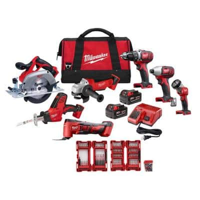 M18 18-Volt Lithium-Ion Cordless Combo Tool Kit (7-Tool) with Two 3.0 Ah Batteries, Charger, Tool Bag and Bit Set