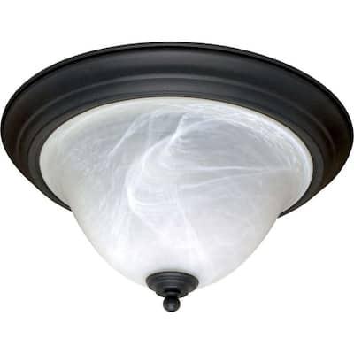 Adria 2-Light Textured Flat Black Flush Mount with Alabaster Swirl Glass