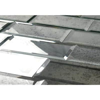 Reflections Antique Silver Beveled 3 in. x 12 in. Peel & Stick Glass Mirror Décor Subway Tile (11 Sq.Ft/Case)