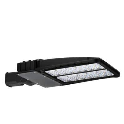 200-Watt Integrated LED Black Parking Lot Area Light with Square and Round Pole Mounting Adapters, 5000K