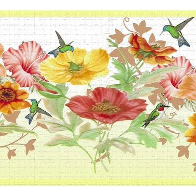 Falkirk Dandy Orange, Pink, Yellow Flowers, Hummingbird Floral Peel and Stick Wallpaper Border