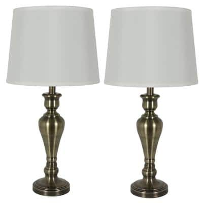 Marie 26 in. Antique Brass Table Lamp Set