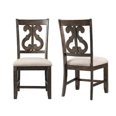 Stanford Wooden Swirl Smokey Walnut Back Side Chair Set