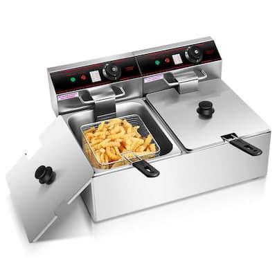 3400-Watt Electric Countertop Deep Fryer Dual Tank Commercial Restaurant Steel