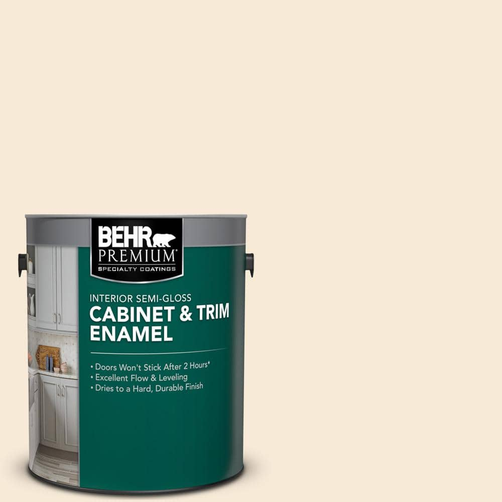 Behr Premium 1 Gal 13 Cottage White Semi Gloss Enamel Interior Cabinet And Trim Paint 712001 The Home Depot