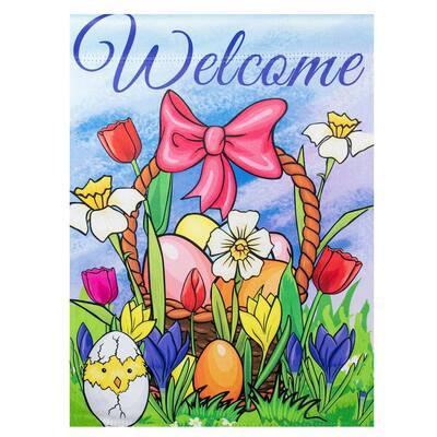 12.5 in. x 18 in. Welcome Easter Basket Outdoor Garden Flag
